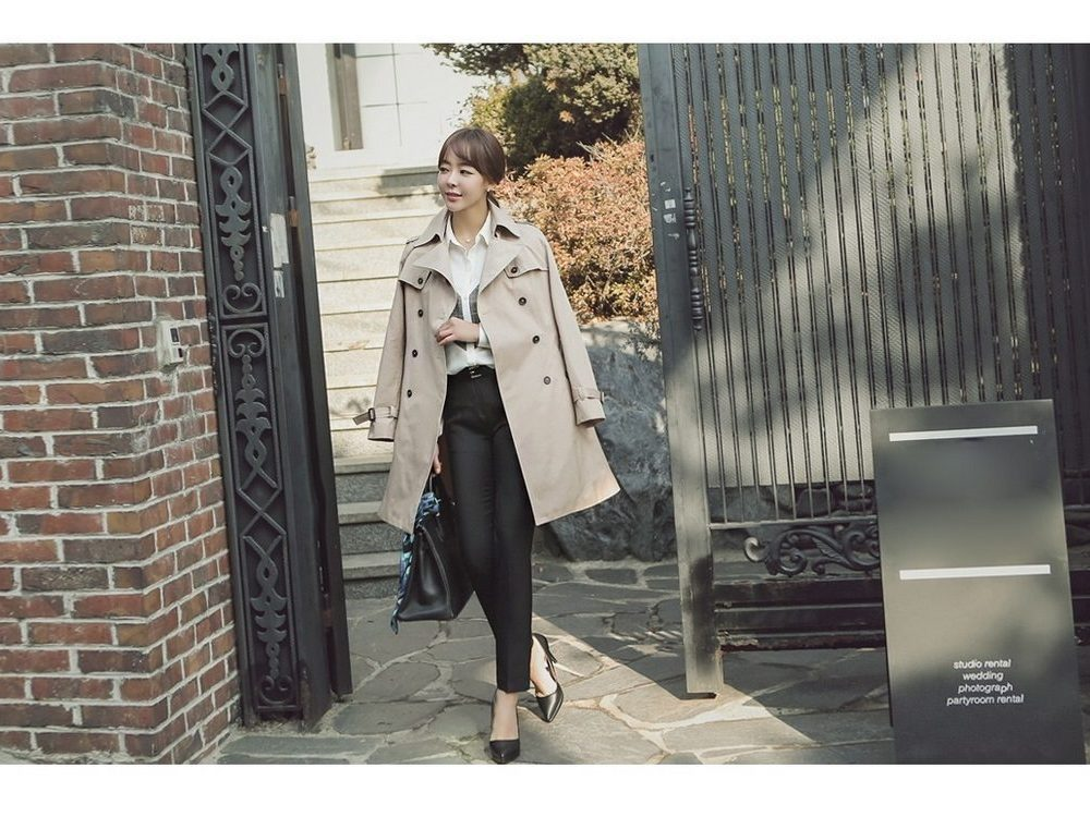 Combing Trench Coat Korean Jacket fasion shop malaysia germany france hongkong