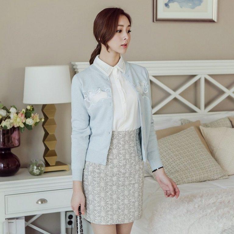 Embroidery Cardigan Korea fashion shop online malaysia singapore brunei