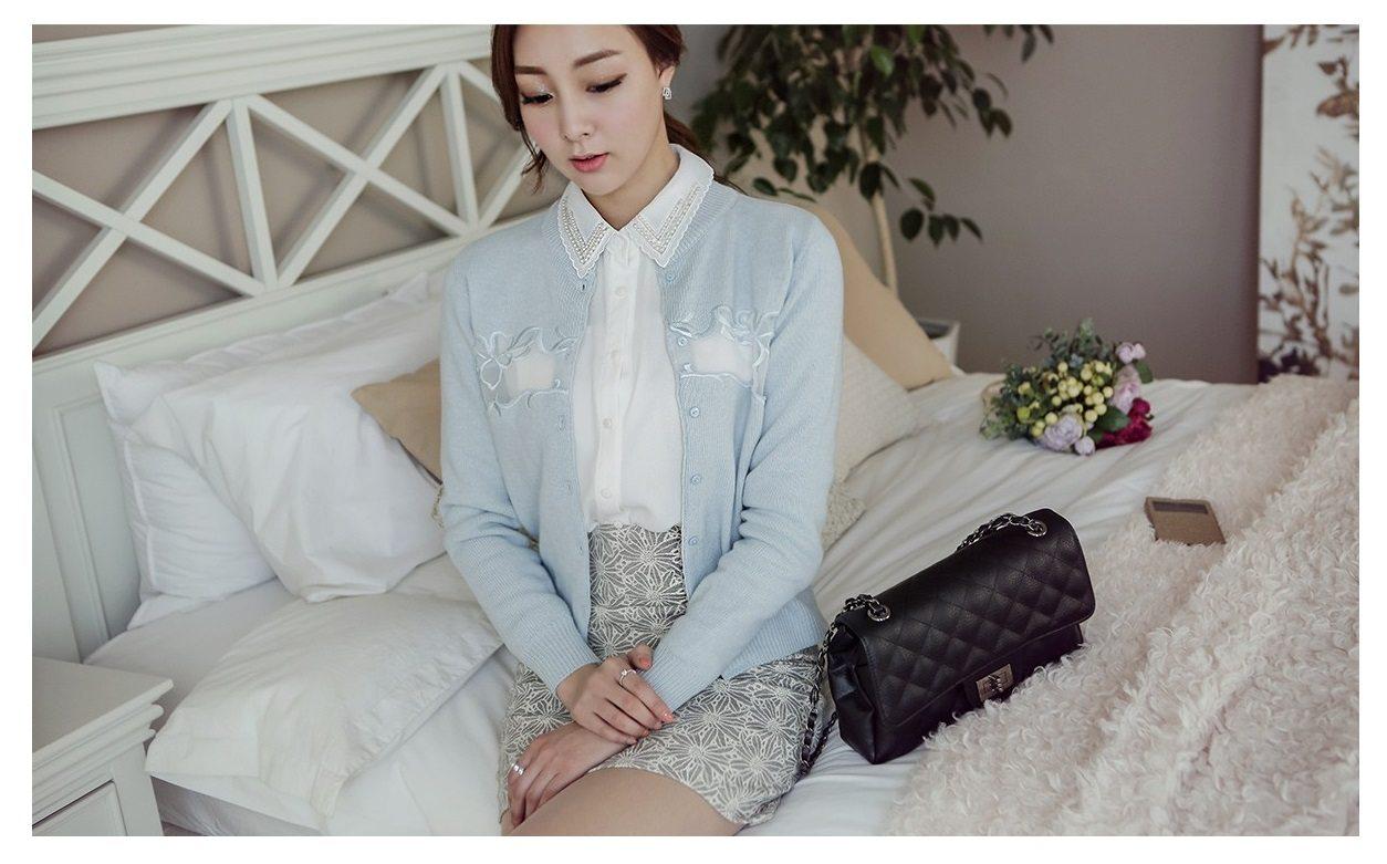 Embroidery Cardigan Korean Outer Clothes Fashion Shop Malaysia