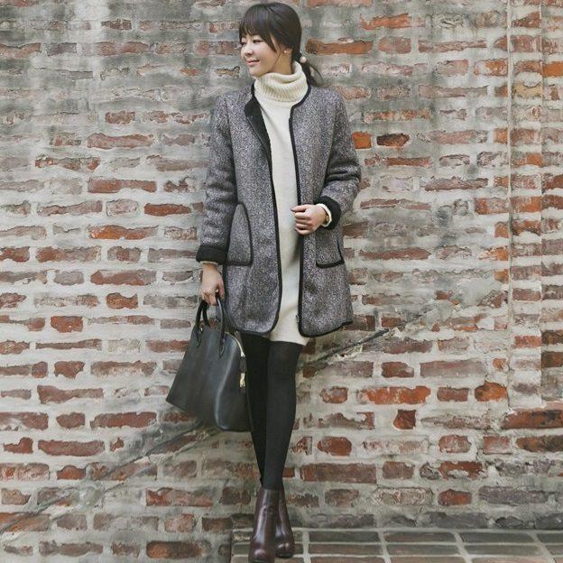Herringbone Wool Coat Korean fasion 2014 online shop malaysia singapore brunei indonesia china