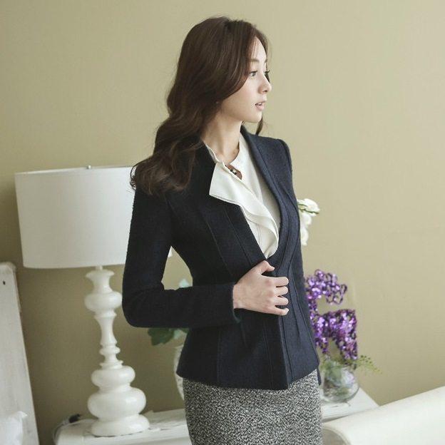 Incision Line Wool Jacket Korean fasion 2014 online shop malaysia singapore brunei indonesia