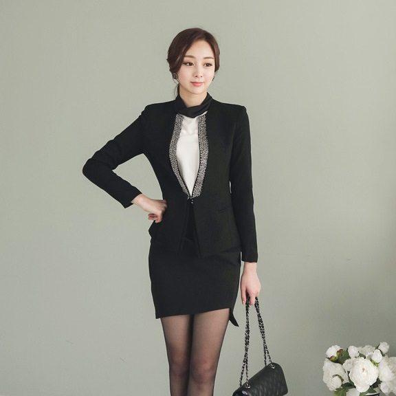 Pearl Beading Slim Line Jacket Korean fasion 2015 online shop malaysia singapore brunei indonesia china