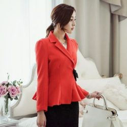 Wrap Ribbon Collar Jacket Korea fashion shop online malaysia singapore brunei