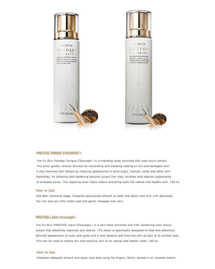 It's Skin PRESTIGE Tonique d'escargot I 140ml [Normal Skin] korean cosmetic