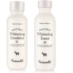 TONYMOLY Naturalth Goat Milk Whitening Toner 150ml + Emulsion 150ml korean cosmetic skincare product online shop malaysia singapore indonesia