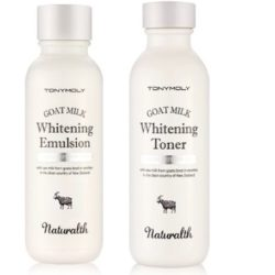 TONYMOLY Naturalth Goat Milk Whitening Toner 150ml + Emulsion 150ml korean cosmetic skincare product online shop malaysia singapore indonesia