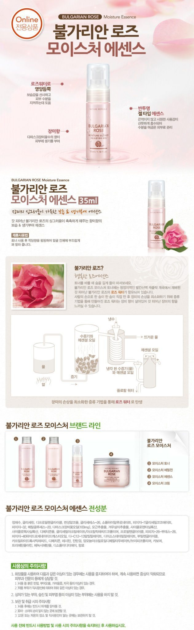 Nature Republic Bulgarian Rose Moisture Essence 35ml malaysia singapore indonesia