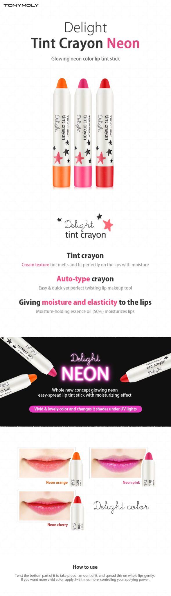 Tonymoly Delight Tint Crayon Neon Korean Beauty Care Shop Malaysia Tony Moly 28g