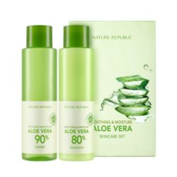 Nature Republic Soothing & Moisture Aloe Vera 80 Toner 160ml + Emulsion 160ml korean cosmetic skincare shop malaysia singapore indonesia