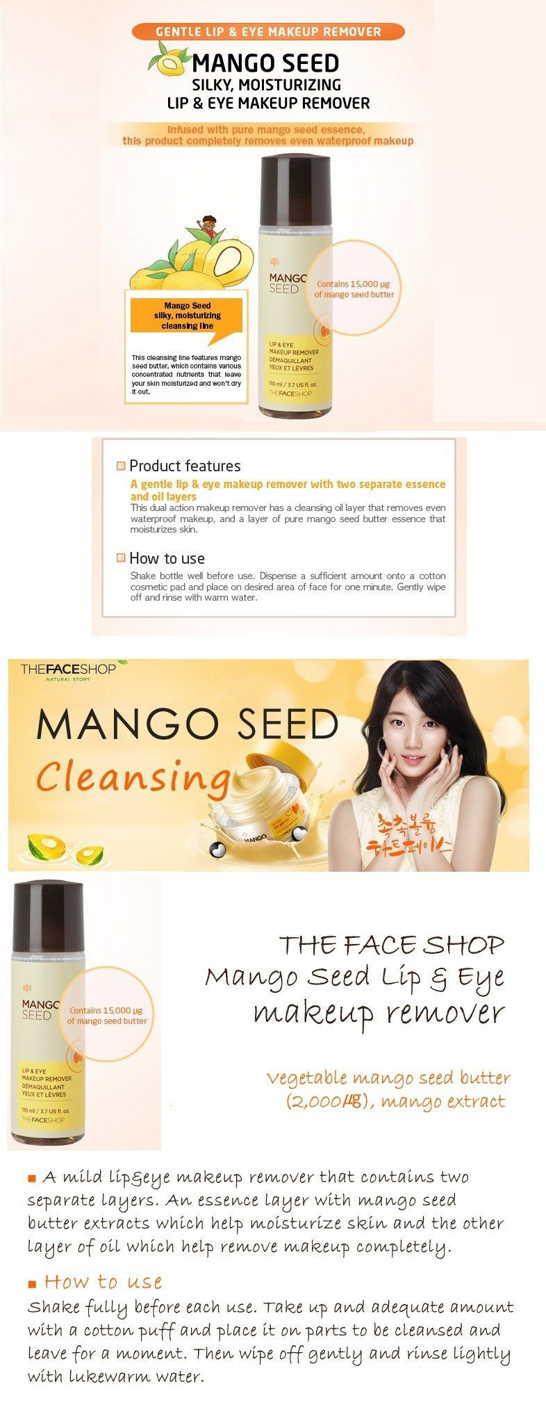 The Face Shop Mango Seed Lip and Eye Makeup Remover 30ml