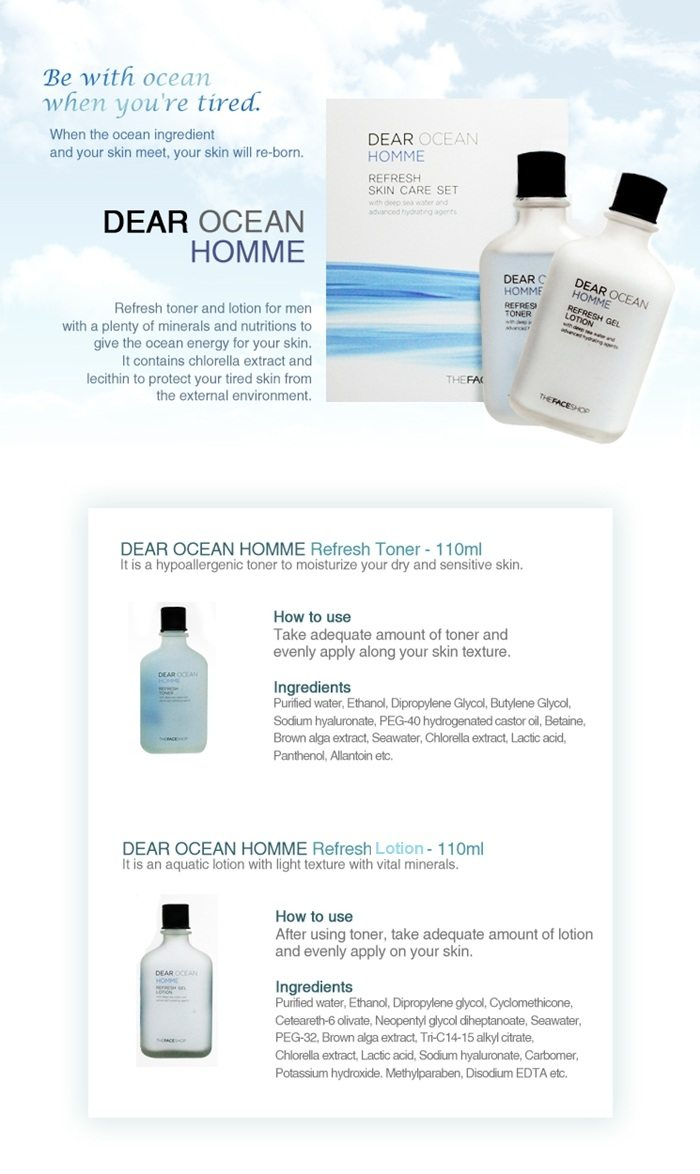 The Face Shop Neo Classic Homme Dear Ocean Skin Care Set U2013 Best Korean Men Skincare Product Malaysia