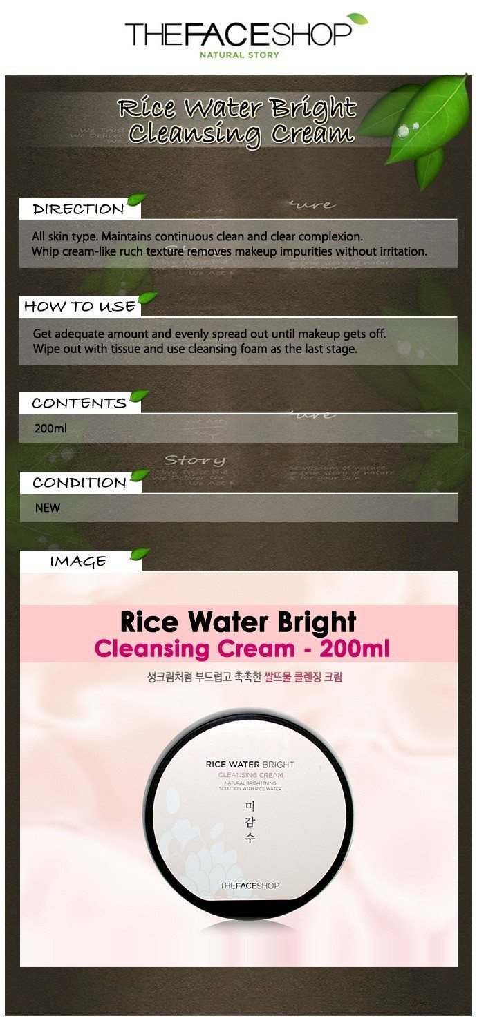 The Face Shop Rice Water Bright Cleansing Cream 200ml