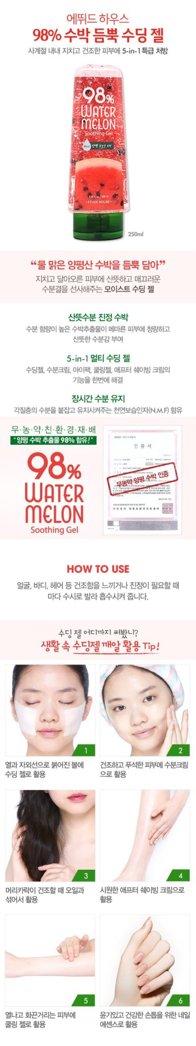 Etude House 98 Water Melon Soothing Gel 250ml malaysia singapore indonesia