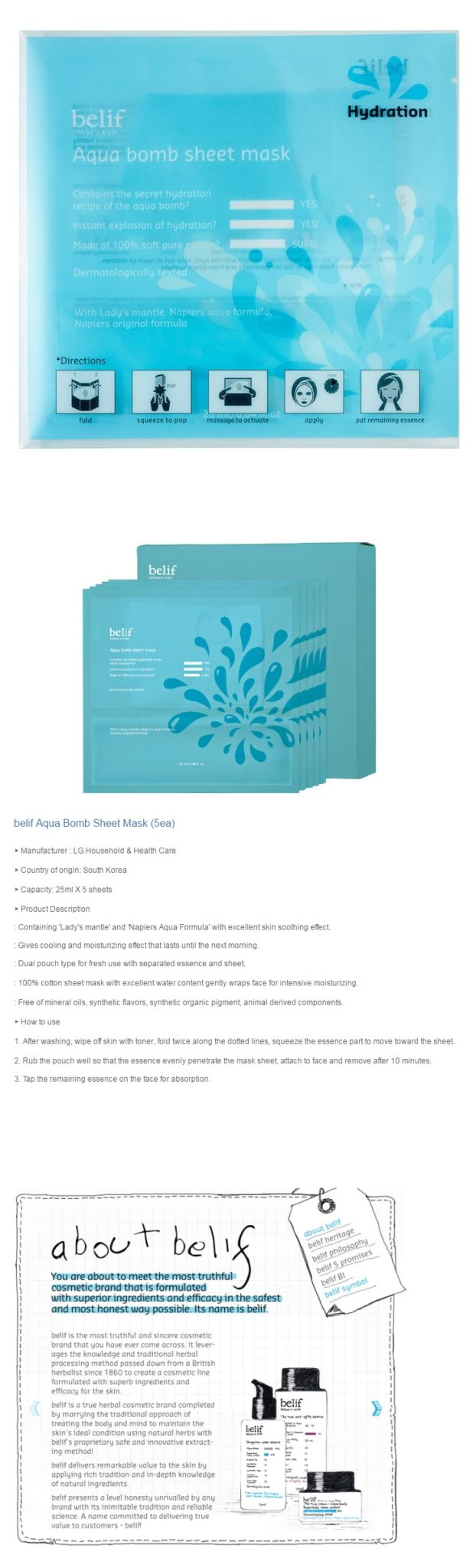Belif Aqua Bomb Sheet Mask 5pcs box 135ml