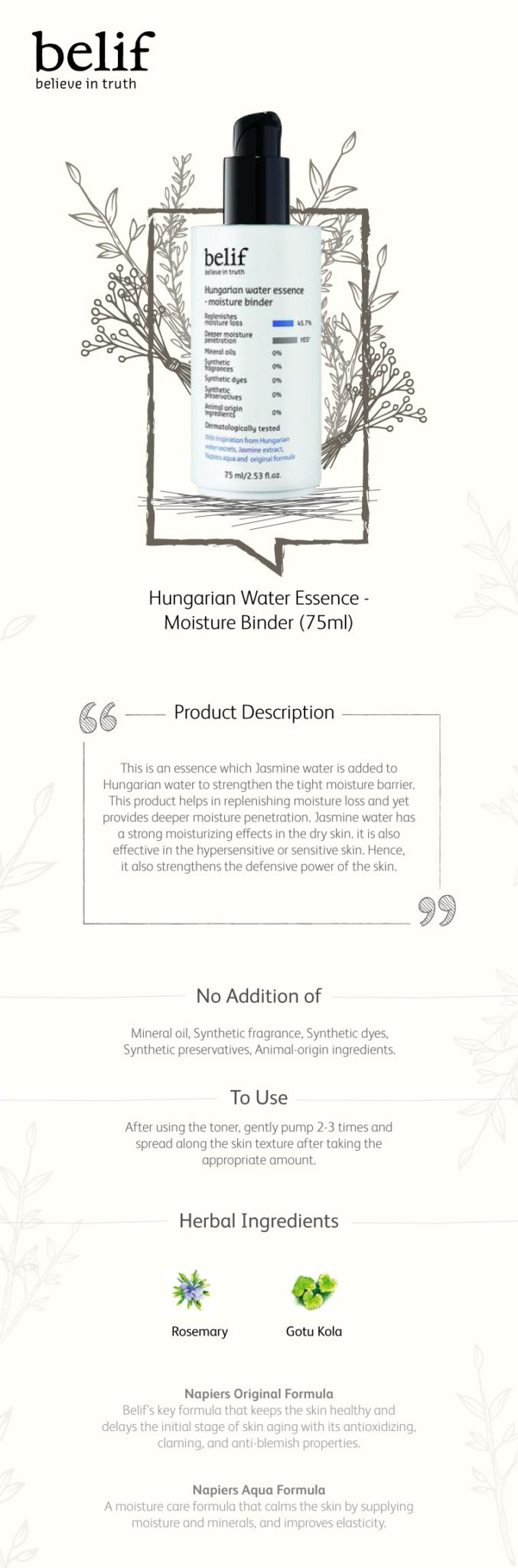 Belif Hungarian Water Essence - Moisture Binder 75ml