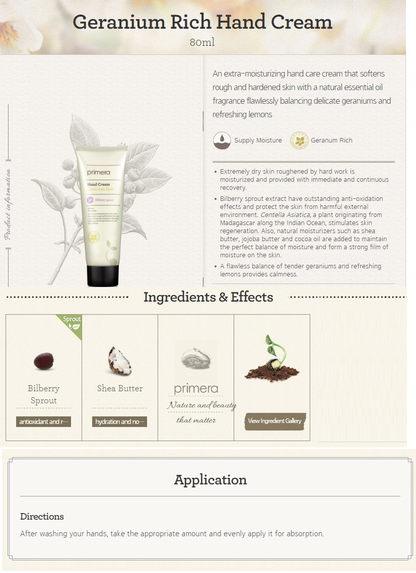 primera Geranium Rich Hand Cream 80ml