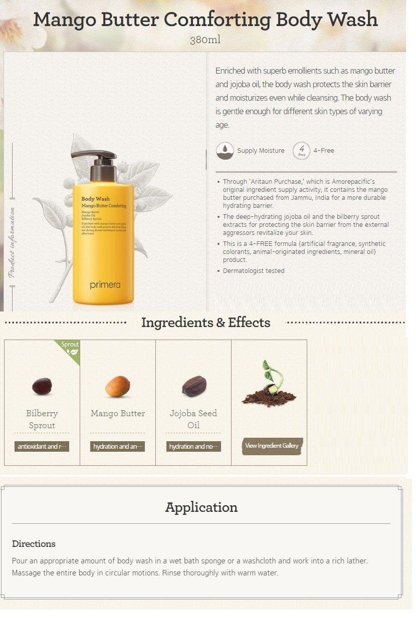 primera Mango Butter Comforting Body Wash 380ml