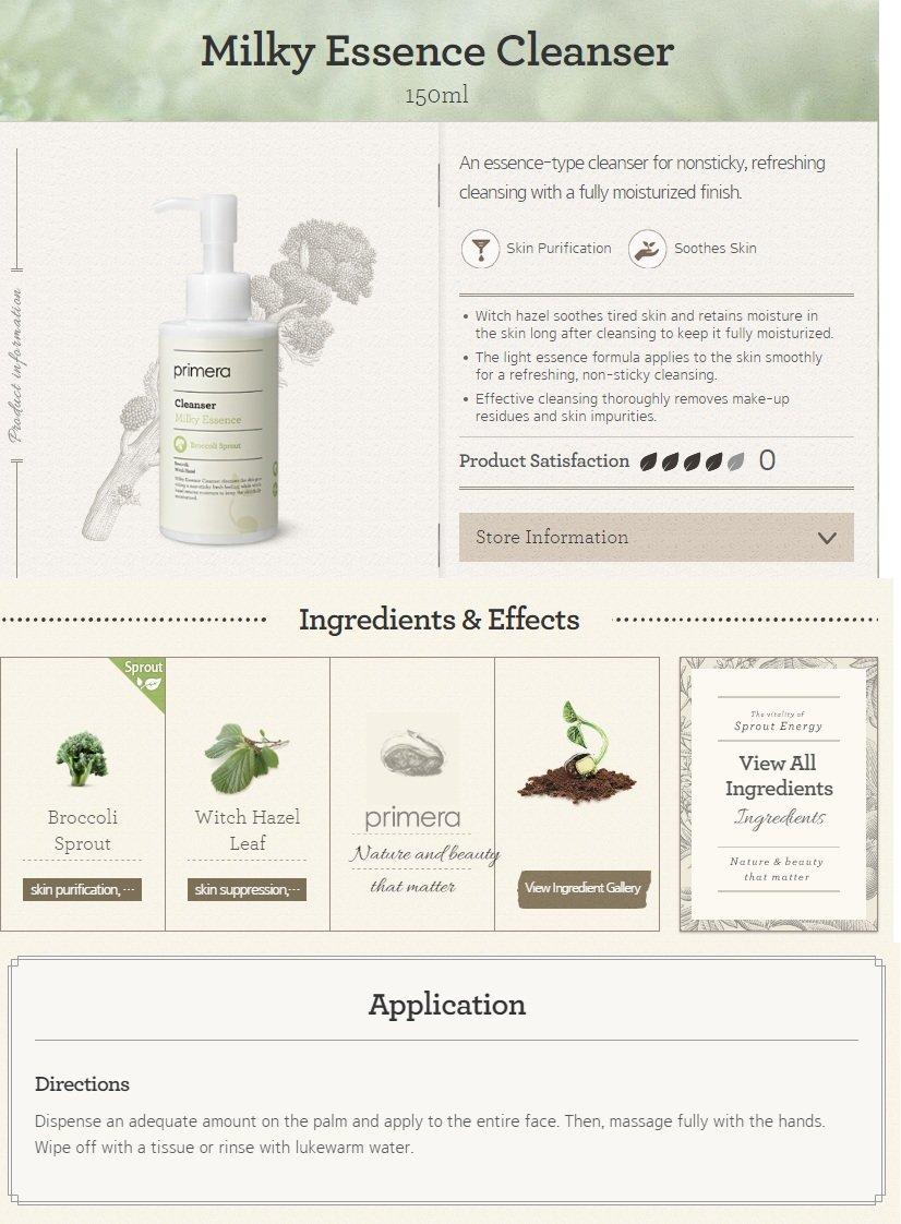 primera Milky Essence Cleanser Broccoli Sprout 150ml