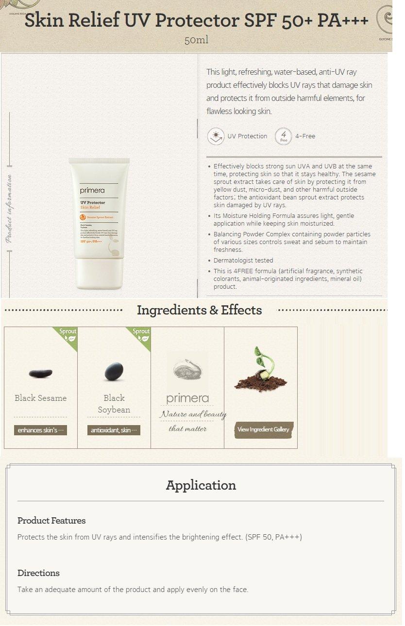 primera Skin Relief UV Protector SPF 50+ PA+++ 50g
