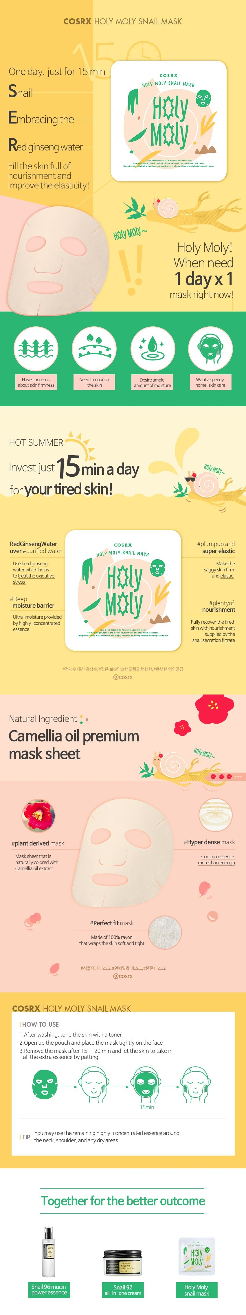 Cosrx Holy Moly Snail Mask 21ml x 5 pcs korean comsetic skincare product online shop malaysia malaysia canada italy1