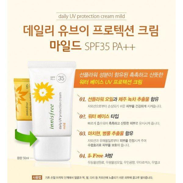 Innisfree Daily UV Protection Cream Mild SPF 35 PA+++ 50ml malaysia singapore indonesia