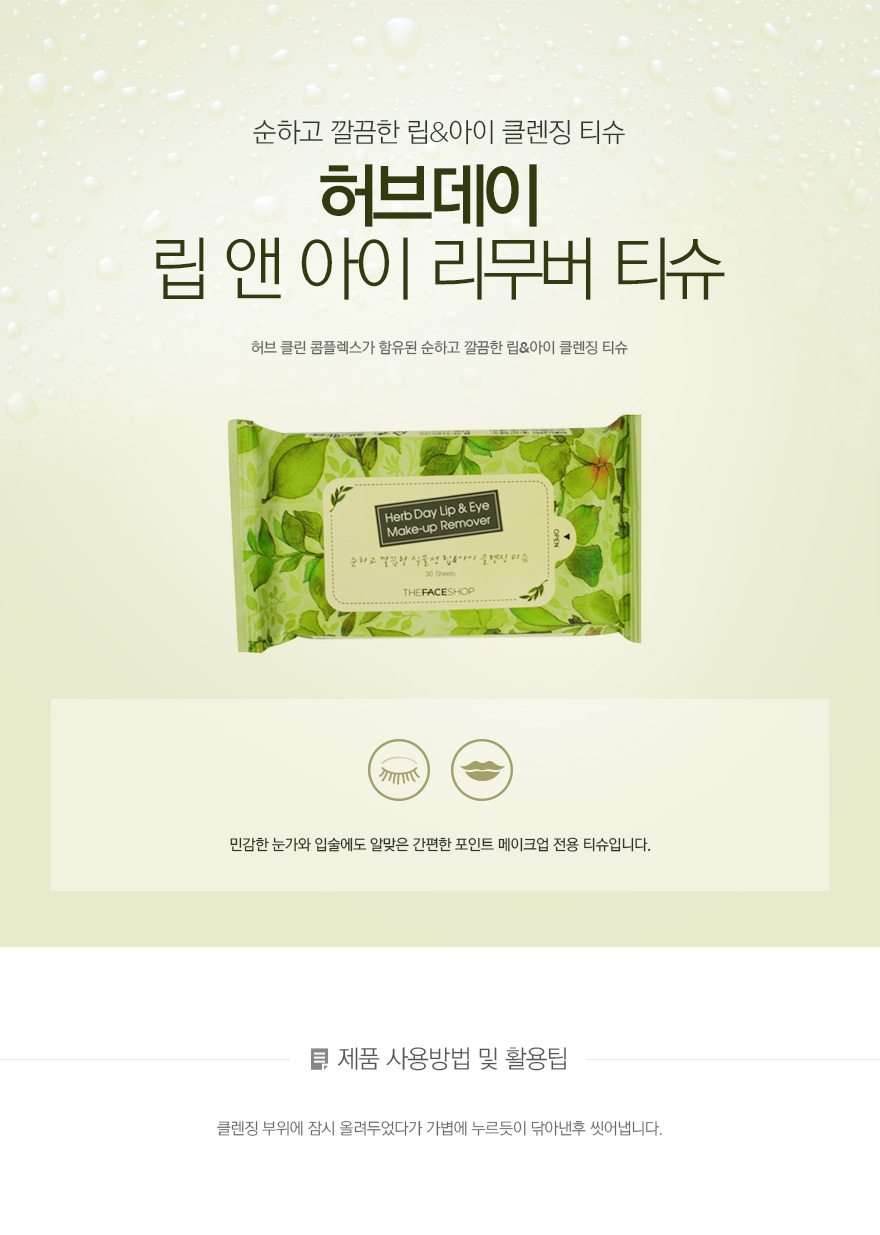 The Face Shop Herb Day Lip and Eye Makeup Remover 30 Sheets 150g malaysia singapore indonesia