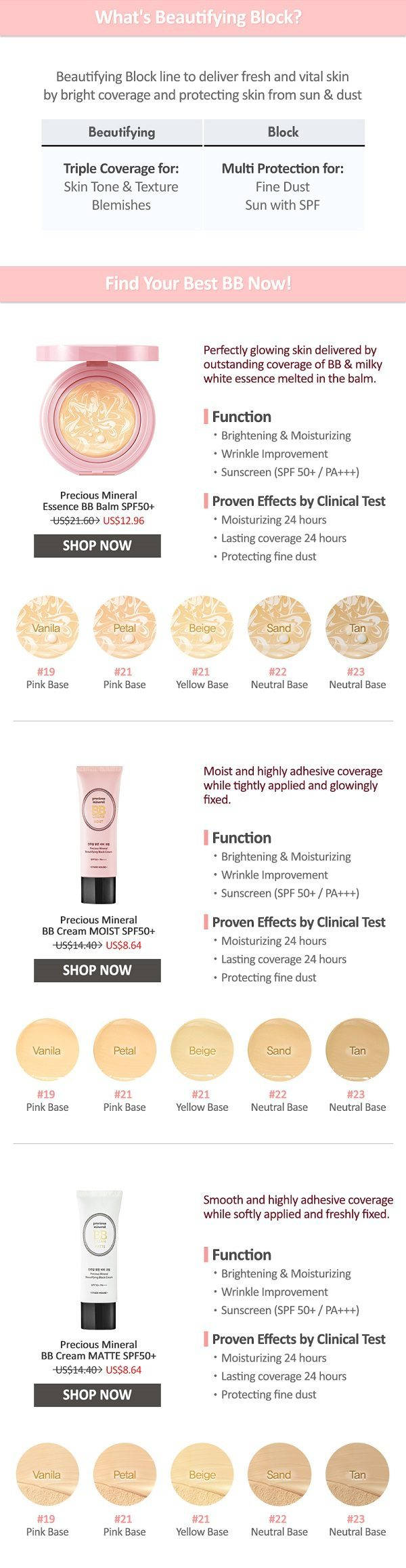 Etude House Precious Mineral BB Cream Moist SPF50+ PA+++ 45g malaysia singapore indonesia