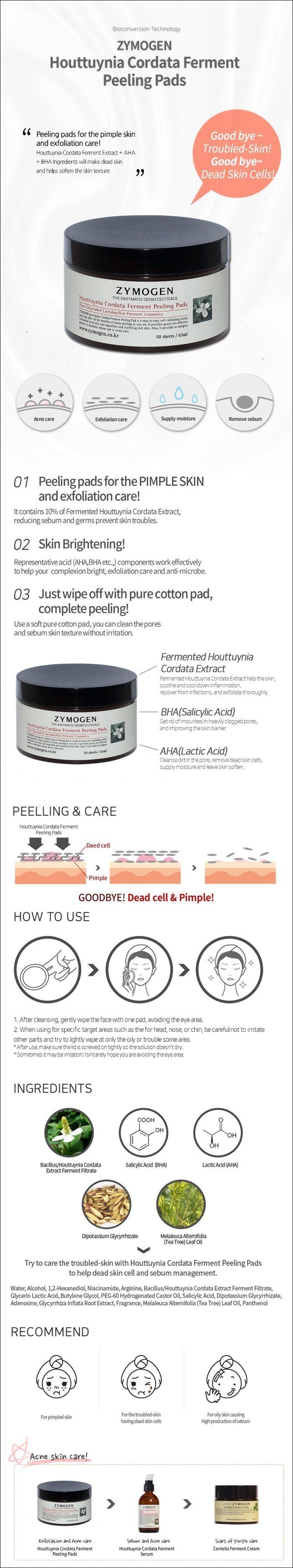 Zymogen Houttuynia Cordata Ferment Extract Peeling Pads 50 Sheets korean cosmetic skincar product online shop malaysia brazil macau1