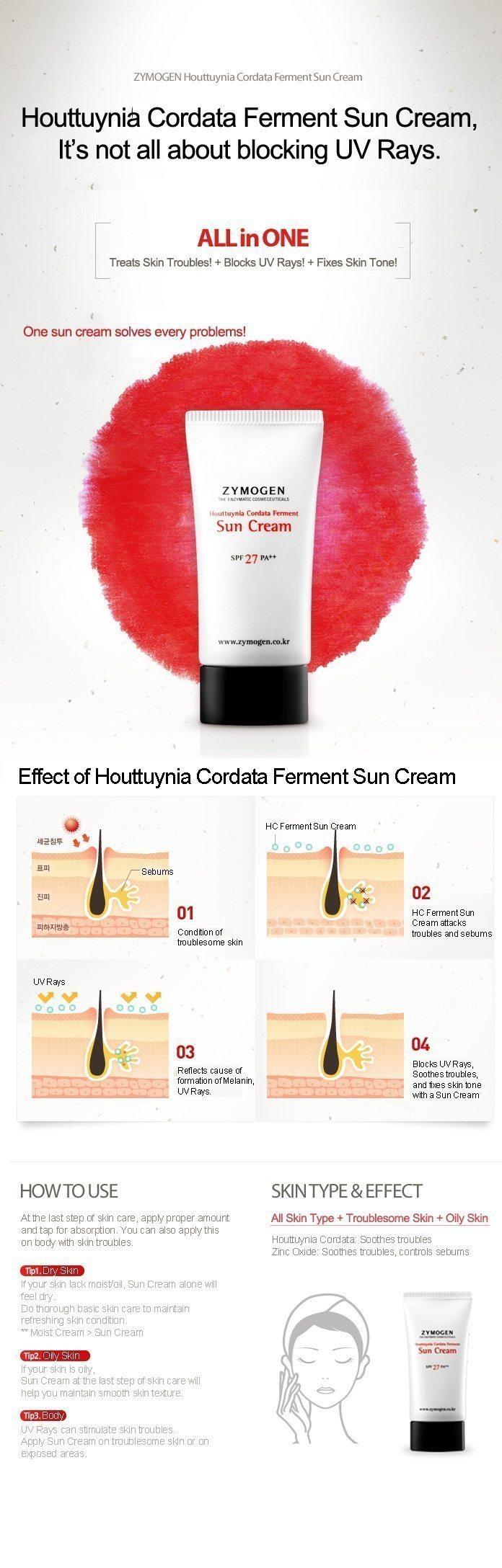 Zymogen Houttuynia Cordata Ferment Sun Cream korean cosmetic skincar product online shop malaysia brazil macau1