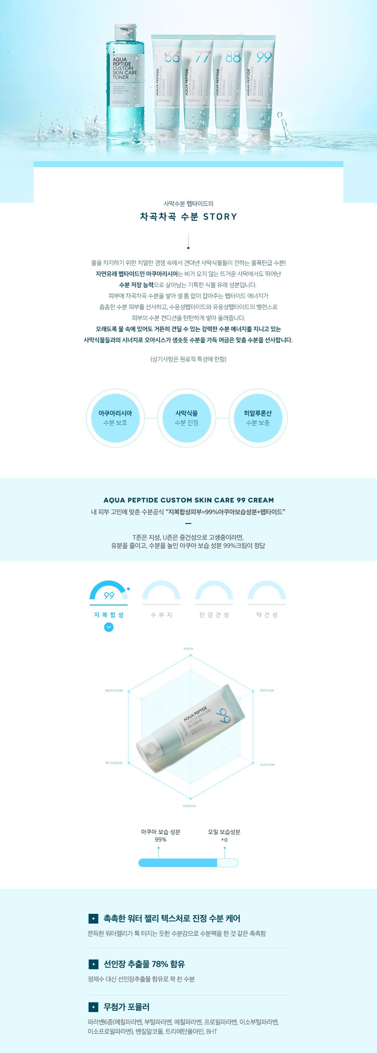 Missha Aqua Peptide Custom Skin Care 99 Cream korean skincare product online shop malaysia china india2